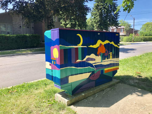 Street Murals by Yasaman Mehrsa seen at North York, Toronto - Day & Night