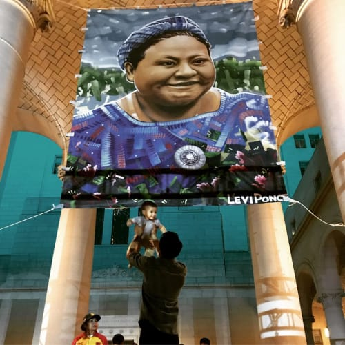 Street Murals by Levi Ponce seen at Los Angeles City Hall, Los Angeles - Rigoberta Menchú Portrait