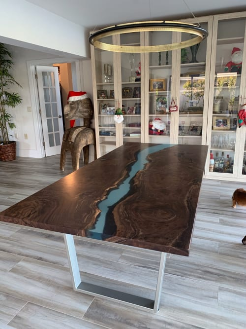 Tables by Fjelsted Nord seen at Private Residence, Hastings - Epoxy River Dining Table