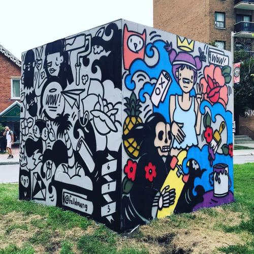 Street Murals by Robbie Lariviere seen at York Street, Ottawa - Cube Mural