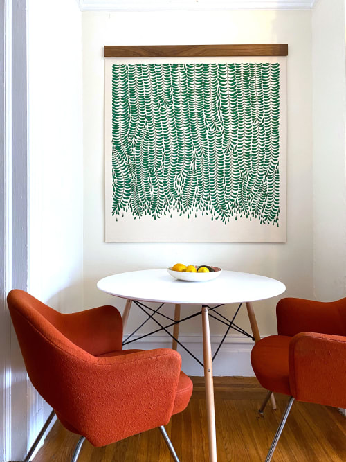 "Paintings by Anastasia Tumanova seen at Private Residence, San Francisco - Fern Canyon Tapestry 50x50"" Walnut Beam"