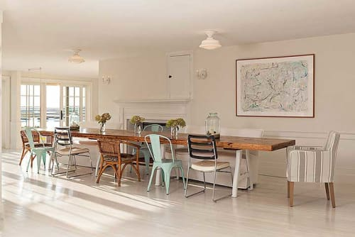 Tables by Jeff Soderbergh Custom Sustainable Furnishings seen at Private Residence, Harwich - Kingswood Table