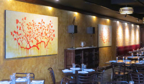 Paintings by Katherine Larson seen at Vellum, Ann Arbor - Restaurant Wall Art