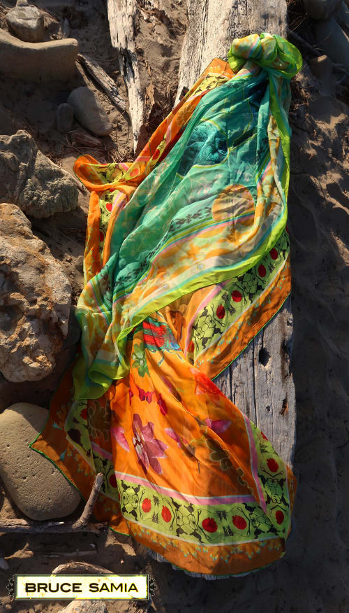 Art & Wall Decor by BRUCE SAMIA art&design at Los Angeles, Los Angeles - silk-scarf/sarongs. designs may be applied to fabric yardage.