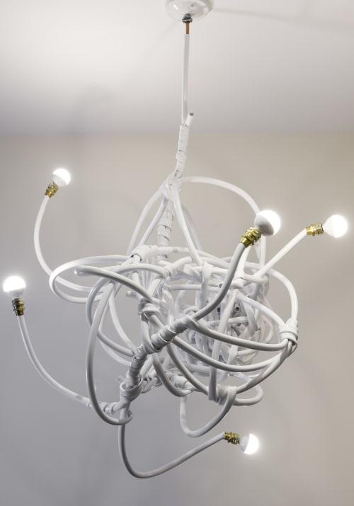 Chandeliers by Justin Cooper Studios seen at Private Residence, Berkeley - White vinyl hose chandelier