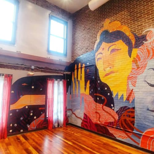 Murals by Emily Herr (HerrSuite) seen at Be Here Now Yoga Healing & Wellness, Washington - Shiva and Shakti (Parvati)