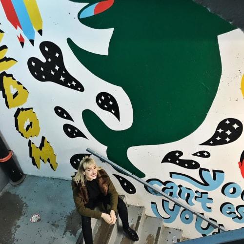 Street Murals by Pony seen at Rue de Gaspé, Montréal - Stairwell Mural