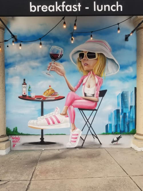Murals by SMOG ONE seen at Pandorée Restaurant - Bakery - Bar, Miami - Pandoree Girl