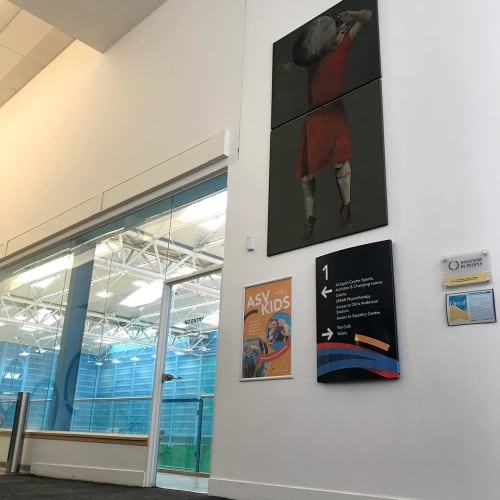 Paintings by Stephanie Vandem seen at Aberdeen Sports Village - Stone Lifting Painting