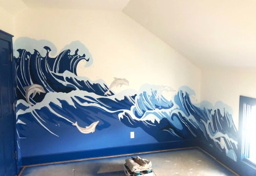 Murals by Josh Scheuerman seen at Private Residence, Salt Lake City - Blue Wave