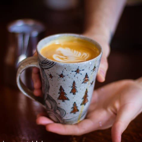 Cups by Pickle Pottery seen at FoxHound Espresso & Coffee Broaster, Nevada City - Ceramic Cup