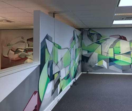Murals by Vincent Huibers Graffiti Art seen at Gericht Media, Zutphen - ANOTHER DAY AT THE OFFICE