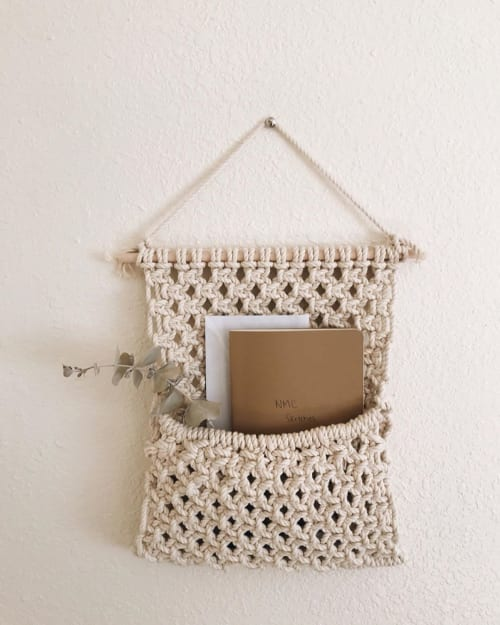Macrame Wall Hanging by November Made Co. seen at Private Residence, Salem - Macrame Mail Holder