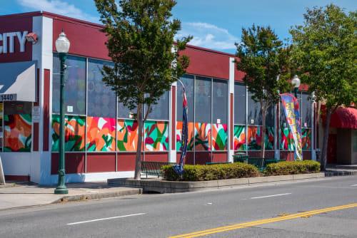 "Public Art by Nicole Mueller seen at 1440 Webster St, Alameda - ""Interplay"" Vinyl Window Installation in Alameda"