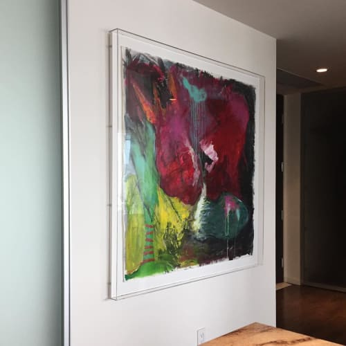 Paintings by Natalie Reynolds Contemporary Art at Private Residence, Coal Harbour - Discourse in Red
