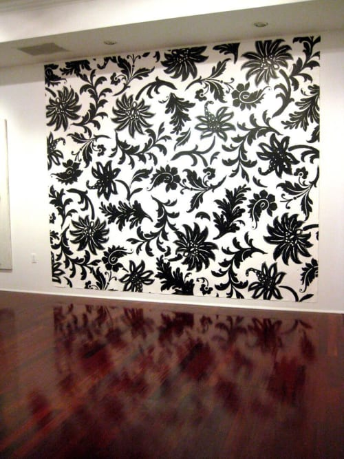 Murals by Margaret Lanzetta seen at Boston, Boston - Wall mural: swirling black floral patterns on white