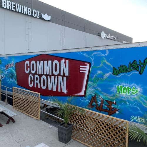 Murals by Silex seen at Common Crown Brewing Co., Calgary - Common Crown Mural