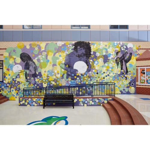 """Murals by Michael Owen seen at Reservoir High School, Reservoir - """"Infinite Possibilities"""" Mural"""