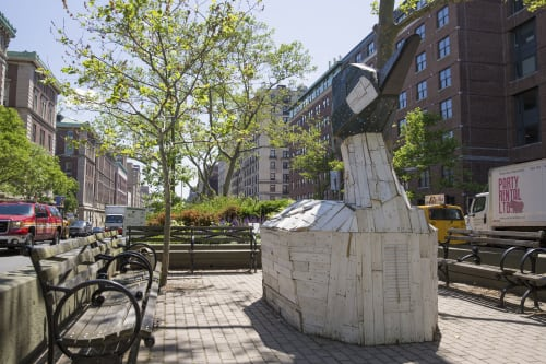 Public Sculptures by Nicolas Holiber seen at School of General Studies of Columbia University, New York - Common Goldeneye