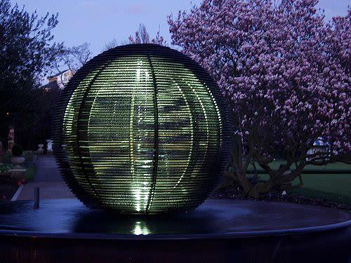 Public Sculptures by Barry Mason seen at Hurlingham Club, London - Hurlingham Sphere