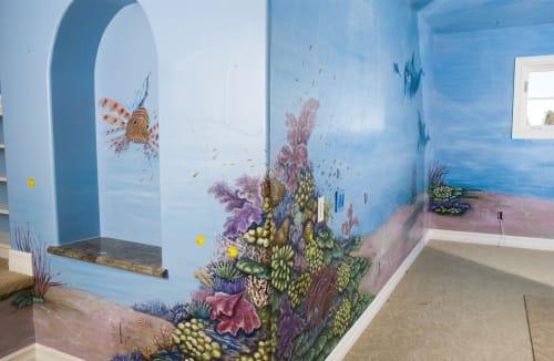 dolphins, kids mural, reef mural, ocean mural, fish, water   Murals by Sally Eckert Fine Art