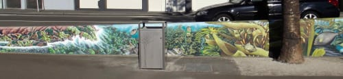 "Street Murals by Ellen Coup seen at 170 Oriental Parade, Wellington - ""Oriental Bay"" Mural"
