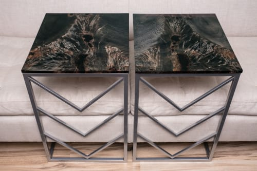 Tables by Lumberlust Designs seen at Private Residence in Scottsdale, AZ, Scottsdale - Ebonized Maple Chevron C-Tables