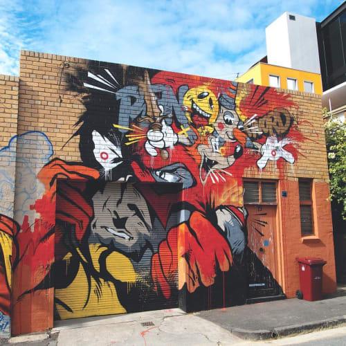 Street Murals by David 'MEGGS' Hooke at St Ali Coffee Roasters, South Melbourne - Pen or Sword