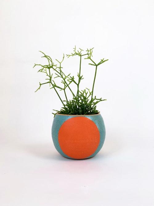 Vases & Vessels by Mineral Ceramics seen at Flowerland Nursery, Albany - Big Dot Pot, Blue Sky