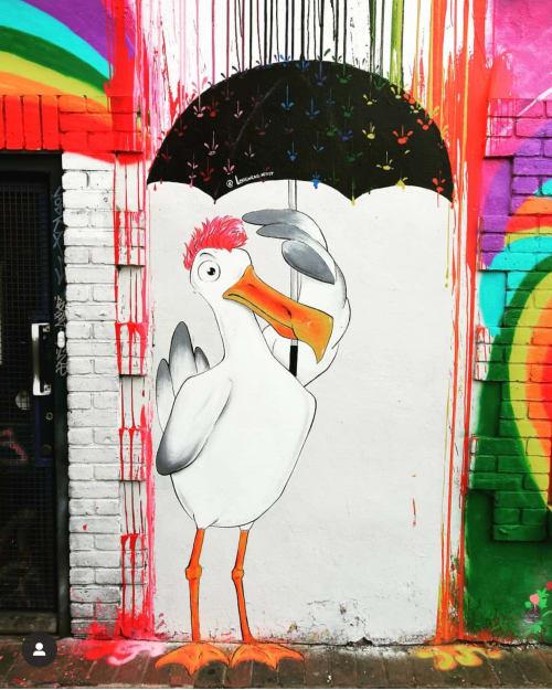 Murals by LorenzaG seen at Clarkes of Sussex - The Art Shop, Brighton - Under my umbrella
