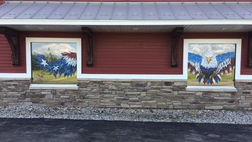 Paintings by Rachel Austin Studios seen at American Classic Roofing & Building Supply, Bailey - Eagle Window Painting