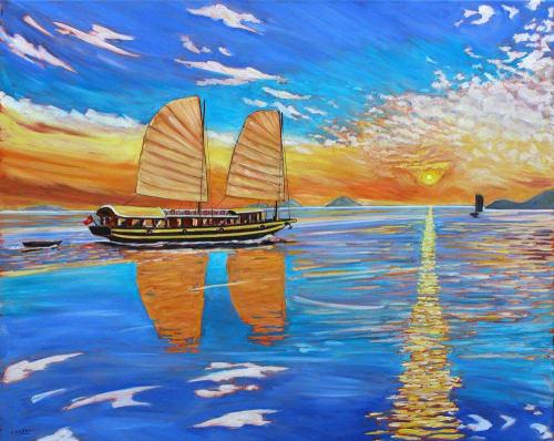 Paintings by John Lester seen at Private Residence - Sunset and Sailng Boats, Nha Trang
