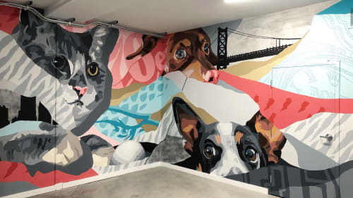 Murals by CERA STREET ART seen at Gray Down, LLC, Philadelphia - Gray Down Offices Mural