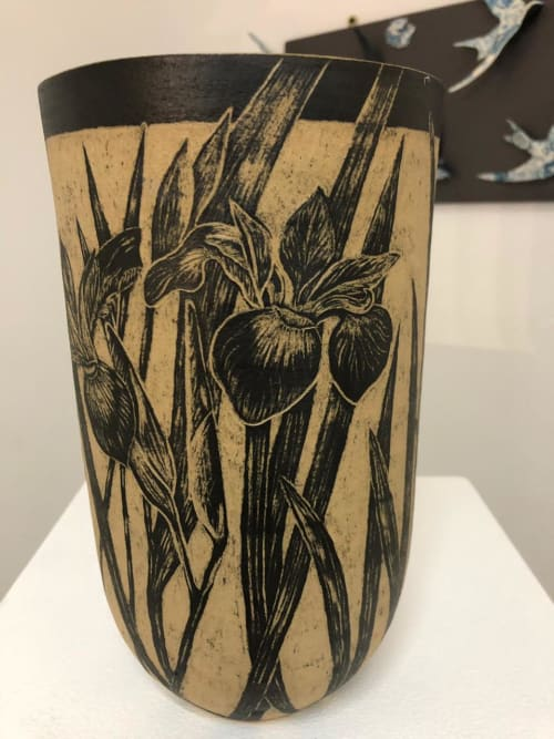 Vases & Vessels by Sera Holland seen at Private Residence, Cape Town - Botanical inspired sgraffito ceramic vases and bowls