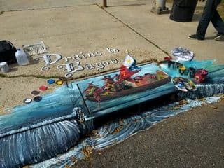 Street Murals by Dirk Guidry Art Studios seen at East Saint Mary Boulevard, Lafayette - Crawssing the Vermillion