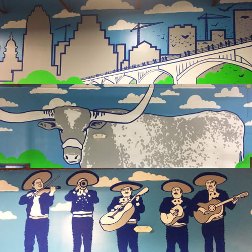 Murals by Avery Orendorf at Dart'em Up, Austin - Nerf Battle!