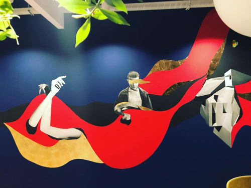 Murals by Gustavo Amaral seen at Netflix Brasil, Alphaville Industrial - Mural