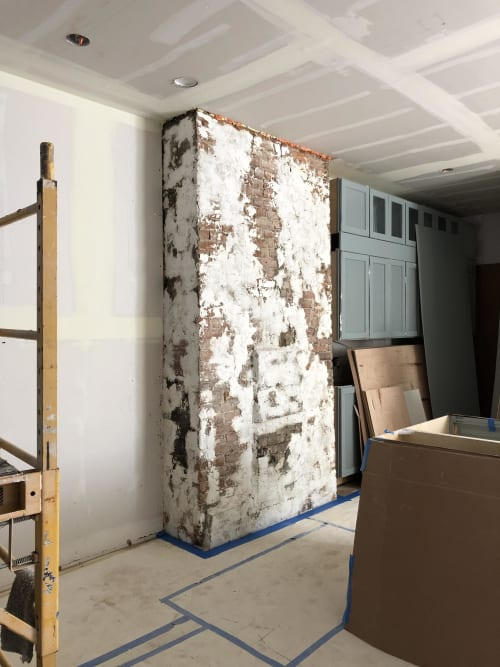 Wall Treatments by EMILY POPE HARRIS ART seen at Private Residence, Brooklyn - Custom Plaster Finish on Existing Brick