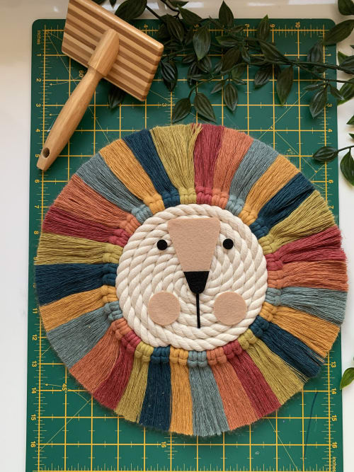 Wall Hangings by Florrie and Olive seen at Private Residence, York - Lion head wall hanging