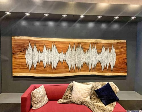 Wall Hangings by Erin Harris seen at Renaissance Chicago Downtown Hotel, Chicago - 12' Parota Soundwave