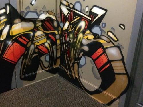 Murals by Christian Toth Art seen at DPL, Moncton - Entrance Mural - DPL Technology
