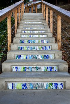 Art & Wall Decor by JK Mosaic, LLC seen at Private Residence - Mosaic on Stair Risers