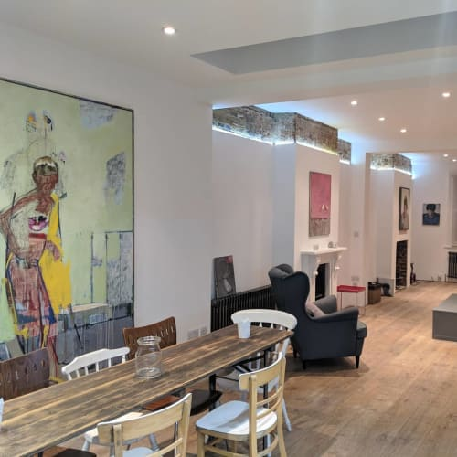 Paintings by Christos Tsimaris seen at Private Residence, London - pink panther