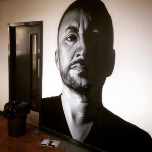 Murals by Jody Thomas seen at dBs Music Bristol - St Thomas St Campus, Bristol - Clint Mansell Portrait
