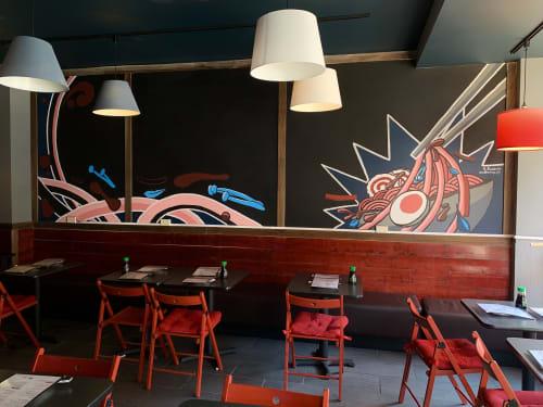 Murals by Nathan Baskin seen at KAMEYA RAMEN& SUSHI, Chicago - Kameya Mural