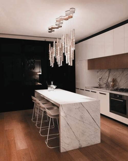 Pendants by ILANEL DESIGN STUDIO seen at Private Residence, South Yarra - HEAVY RAIN Pendant Cluster