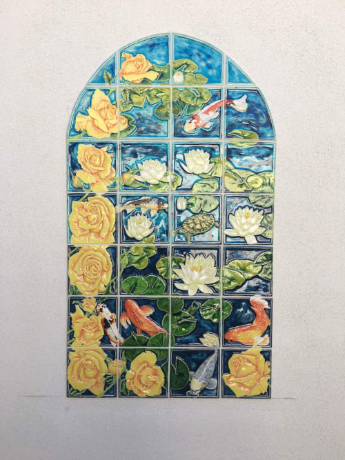 Murals by Sue Barry tiles seen at Private Residence, Moorpark - Roses koi pond