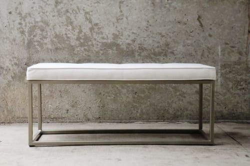 Benches & Ottomans by Hazel Oak Farms - Tufted Upholstery Bench with Gold Metal