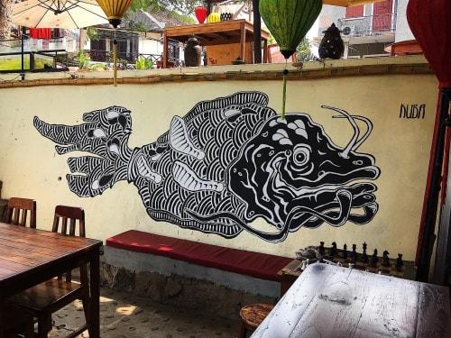 Street Murals by Kuba seen at Sa Sa Sunset Cruise and Bar, Luang Prabang - Fisch
