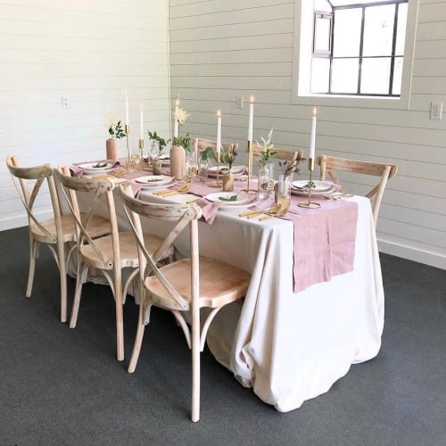 Linens & Bedding by Rough Linen seen at Serenity Rose Farm, Cabins & Event Space, Conroe - Pink Linen